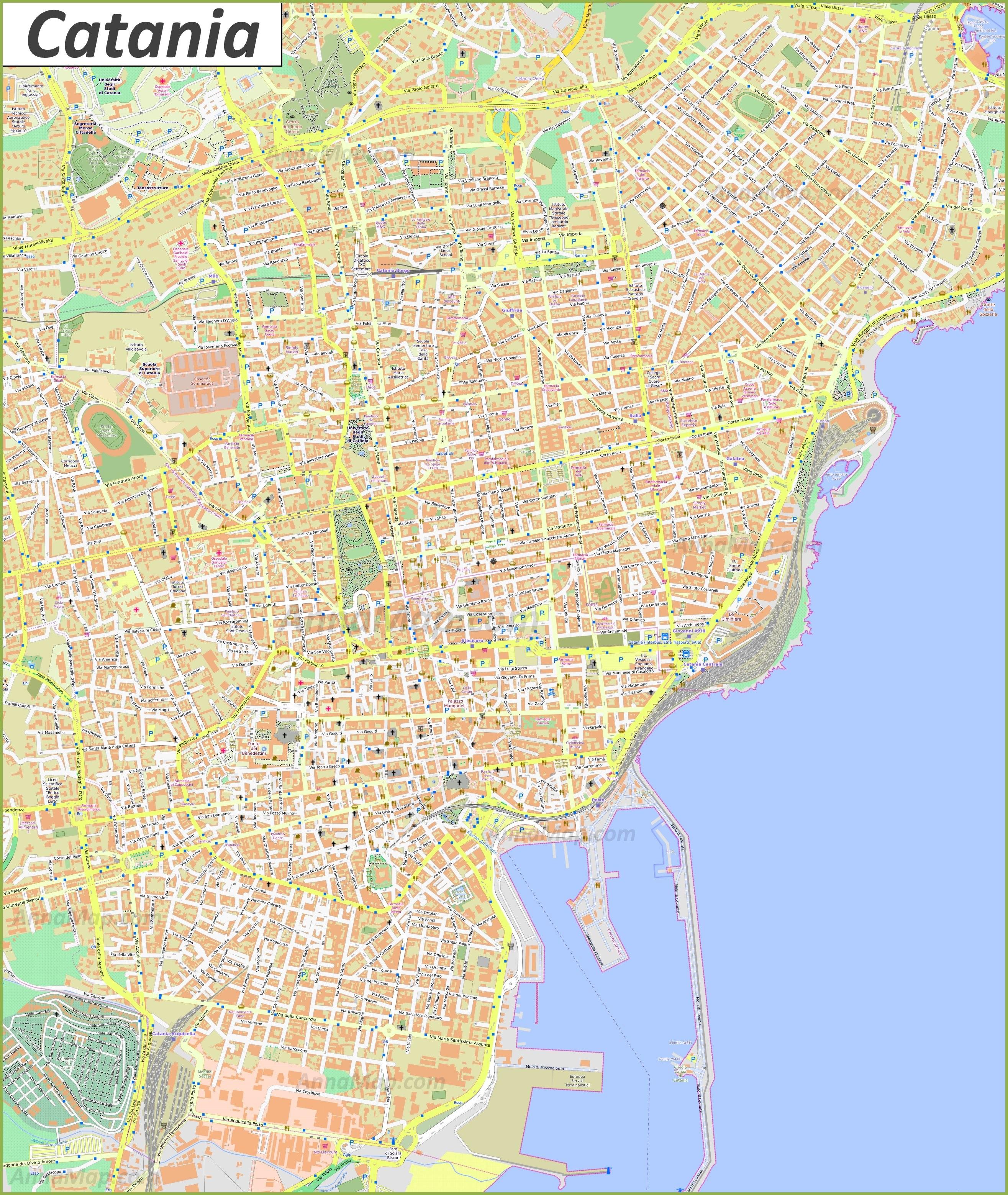 Catania mapa turístico