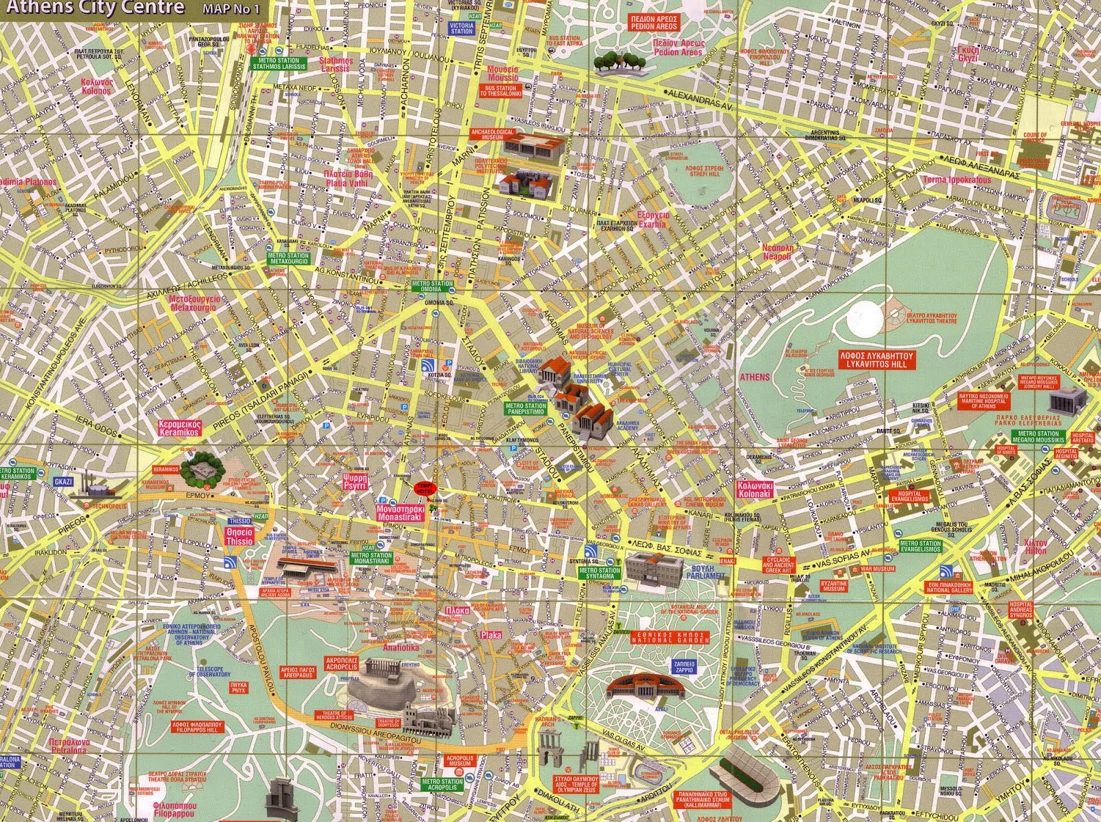 mapa turistico atenas